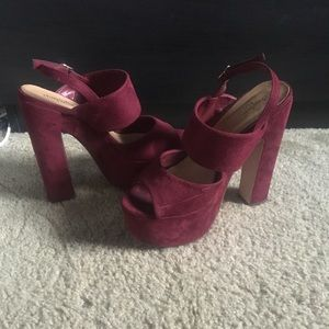 Cranberry suede strapped platform heels!